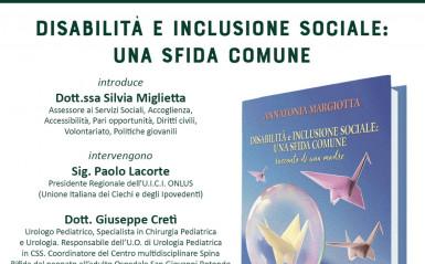 """Presentazione del libro """"Disabilità e inclusione sociale: una sfida comune. Racconto di una madre"""" di Annatonia Margiotta."""